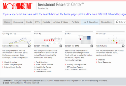 Morningstar homepage