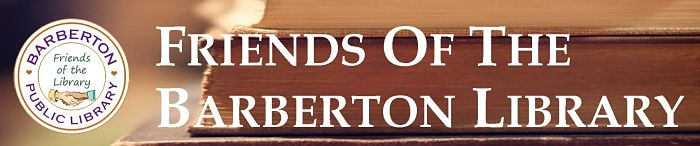 friends of the library logo with 'friends of the barberton library' white text over a background of stacked books