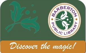 library card green background discover the magic text at bottom leaf graphic right logo left